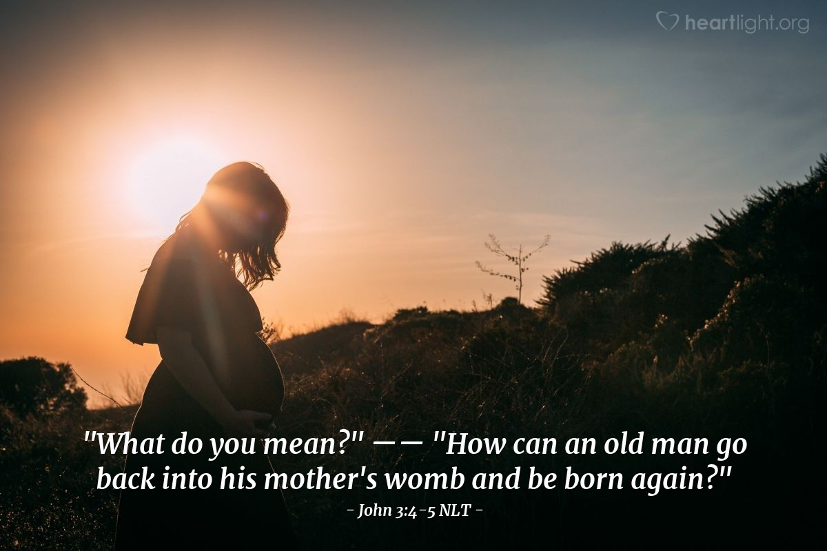"Illustration of John 3:4-5 NLT — ""What do you mean?""   ——   ""How can an old man go back into his mother's womb and be born again?"""