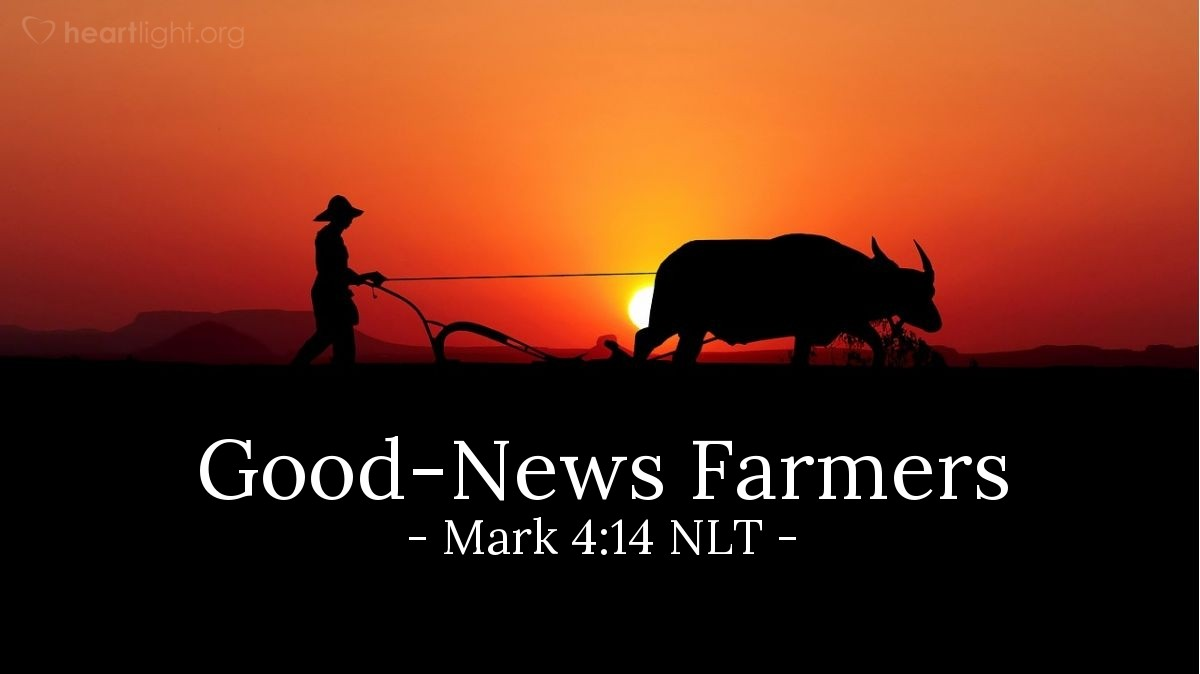 Illustration of Mark 4:14 NLT — The farmer is like a person that plants God's teaching in people.