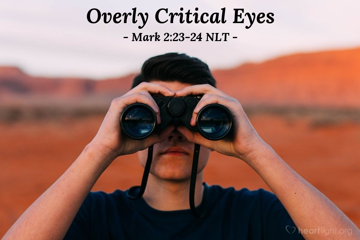 """Illustration of Mark 2:23-24 NLT — """"Why are your followers doing that? It is against the {Jewish} law to do that on the Sabbath day."""""""