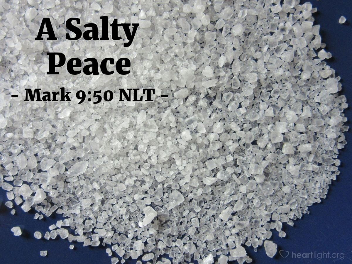 "Illustration of Mark 9:50 NLT — ""Salt is good. But if the salt loses its salty taste, then you can't make it salty again. So, be full of goodness. And have peace with each other."""