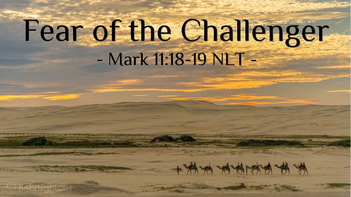 Illustration of Mark 11:18-19 NLT —  That night, Jesus and his followers left the city.
