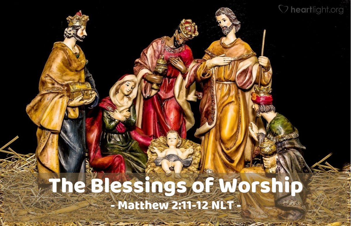 Illustration of Matthew 2:11-12 —  The wise men bowed down and worshiped the baby.