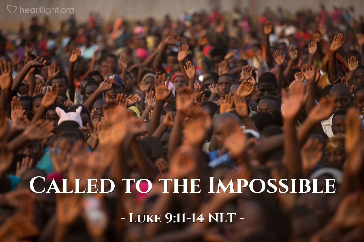 "Illustration of Luke 9:11-14 NLT — ""Tell the people to sit in groups of about 50 people."""