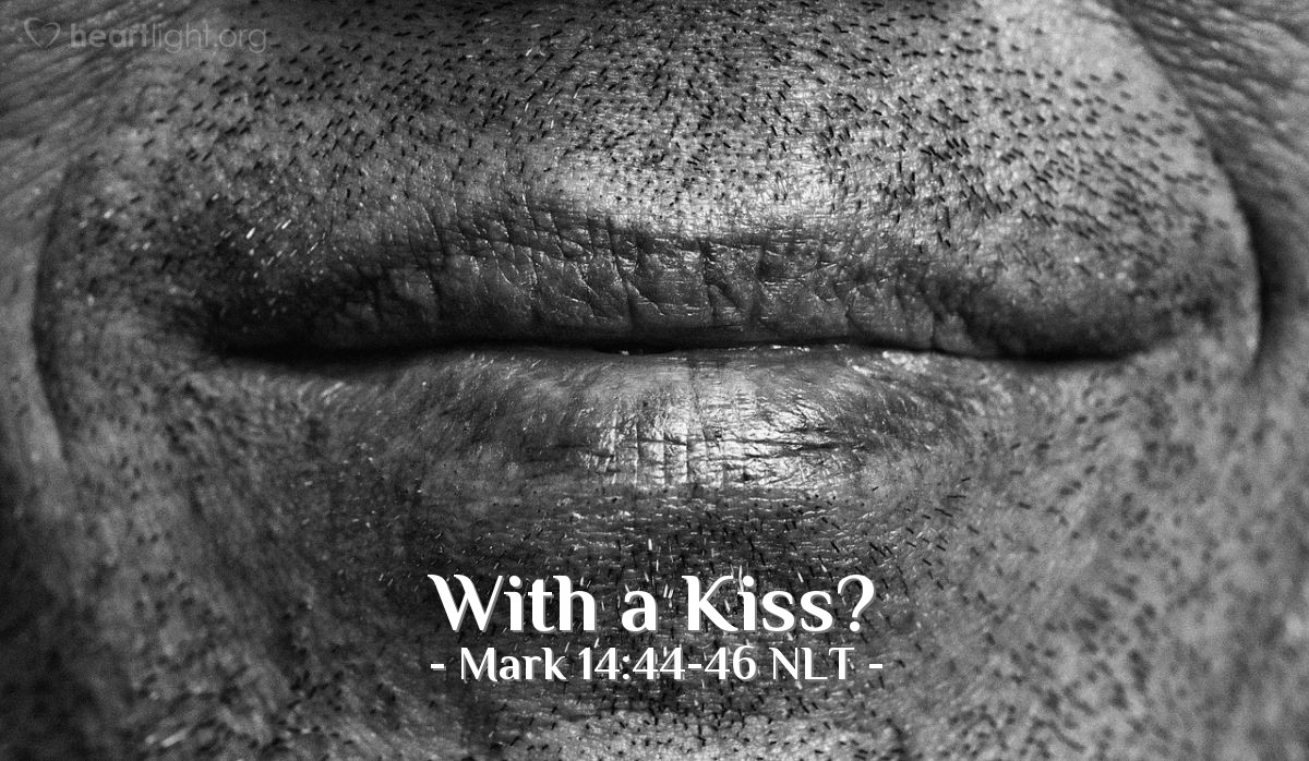 """Illustration of Mark 14:44-46 — """"The man I kiss is Jesus. Arrest him and guard him while you lead him away.""""   ——   """"Teacher!"""""""