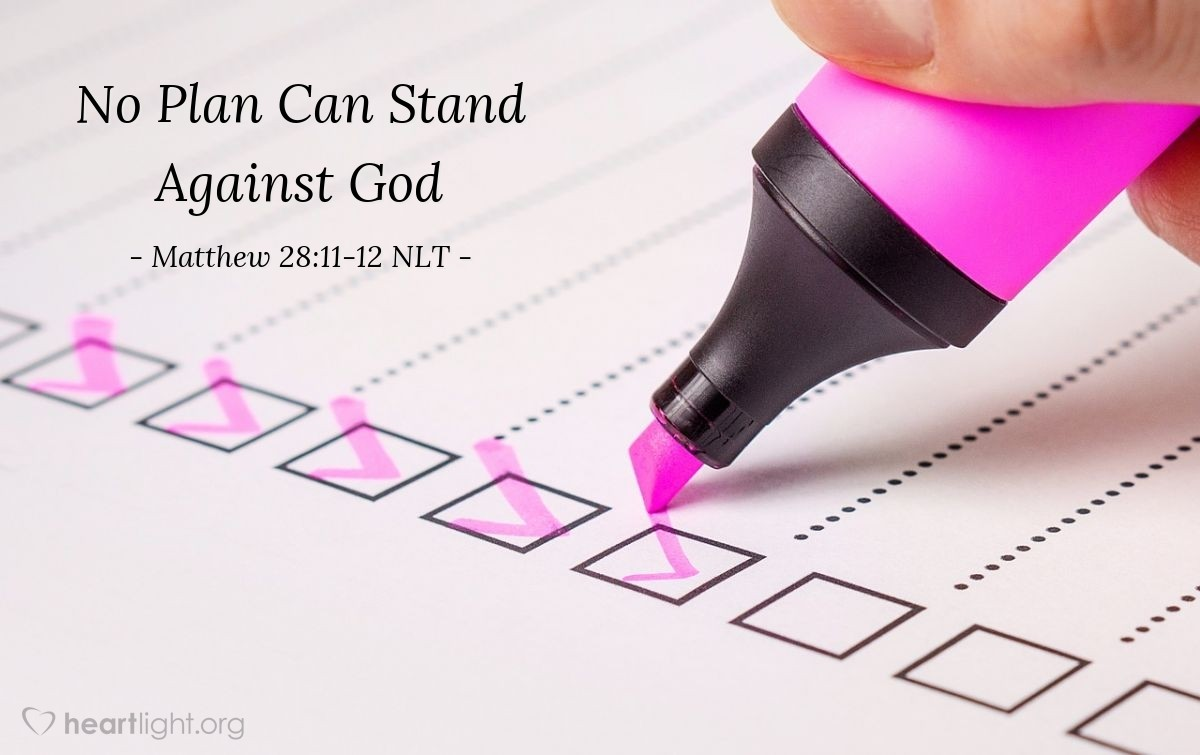 Illustration of Matthew 28:11-12 NLT —  Then the priests met with the older Jewish leaders and made a plan.