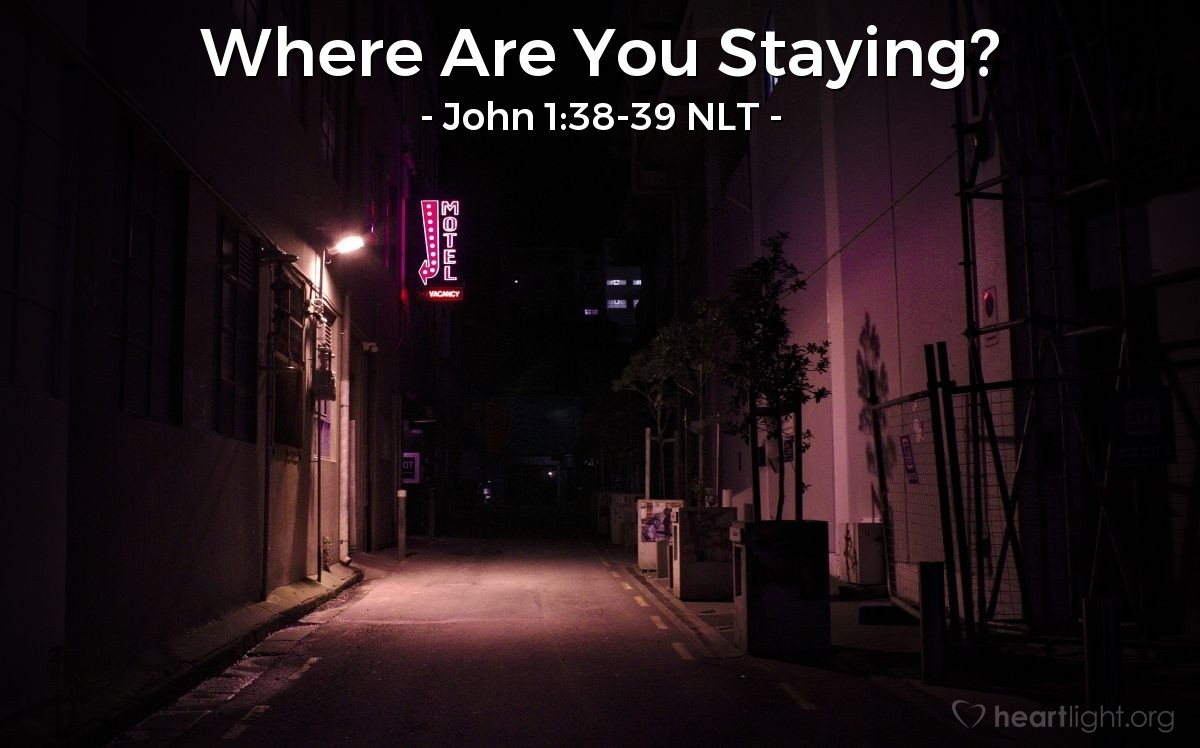 "Illustration of John 1:38-39 — ""Come with me and you will see."""