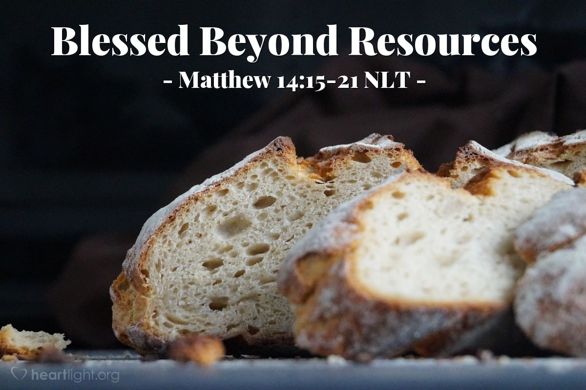 "Illustration of Matthew 14:15-21 NLT — ""Bring the bread and the fish to me."""