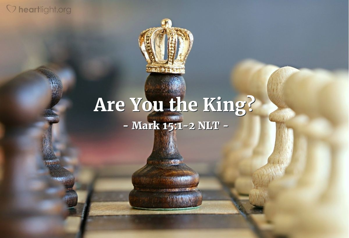 "Illustration of Mark 15:1-2 NLT — ""Are you the king of the Jews?""   ——   ""Yes, that is right."""