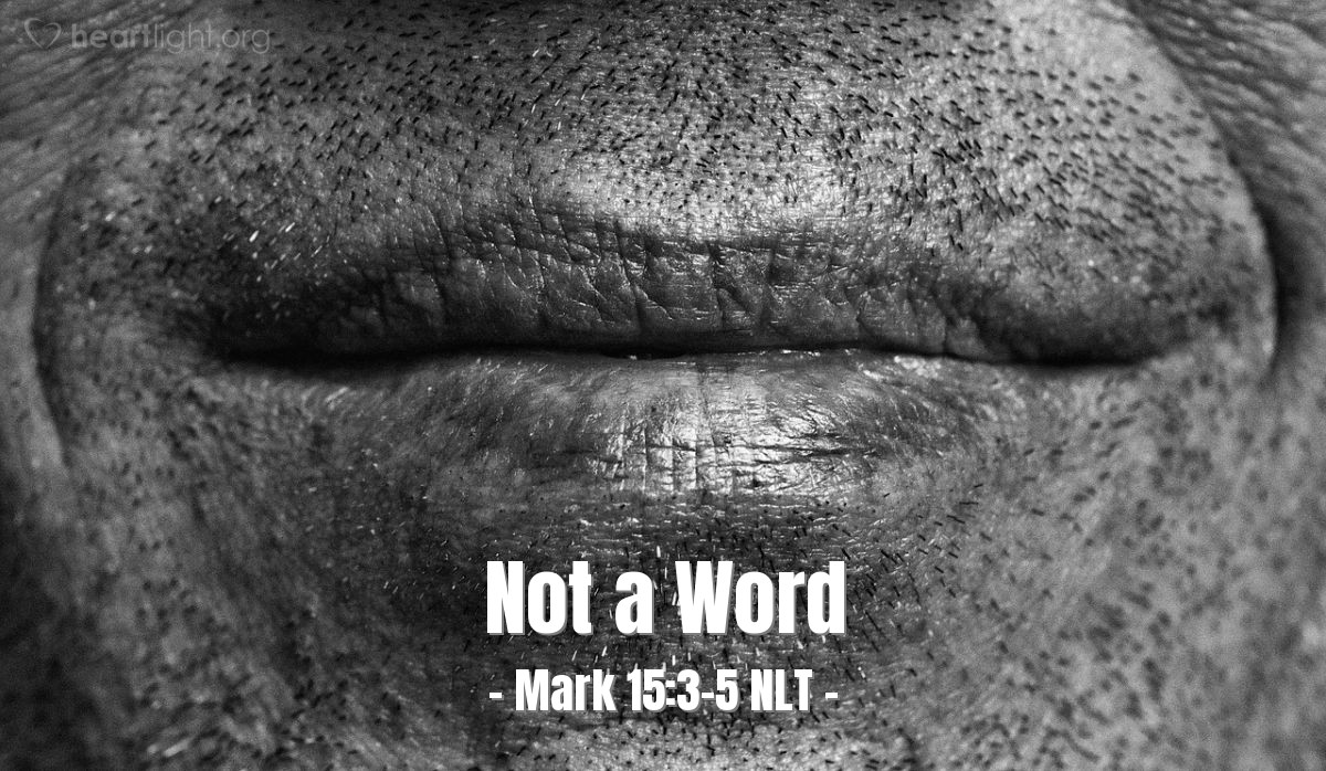 """Illustration of Mark 15:3-5 — """"You can see that these people are accusing you of many things. Why don't you answer?"""""""