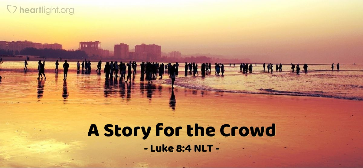 Illustration of Luke 8:4 — Many people came together. People came to Jesus from every town. Jesus told the people this story: