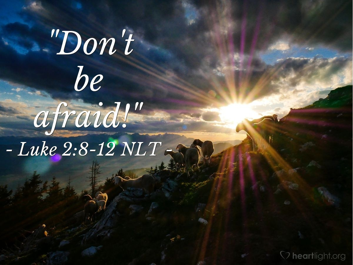 "Illustration of Luke 2:8-12 NLT — ""Don't be afraid!"""