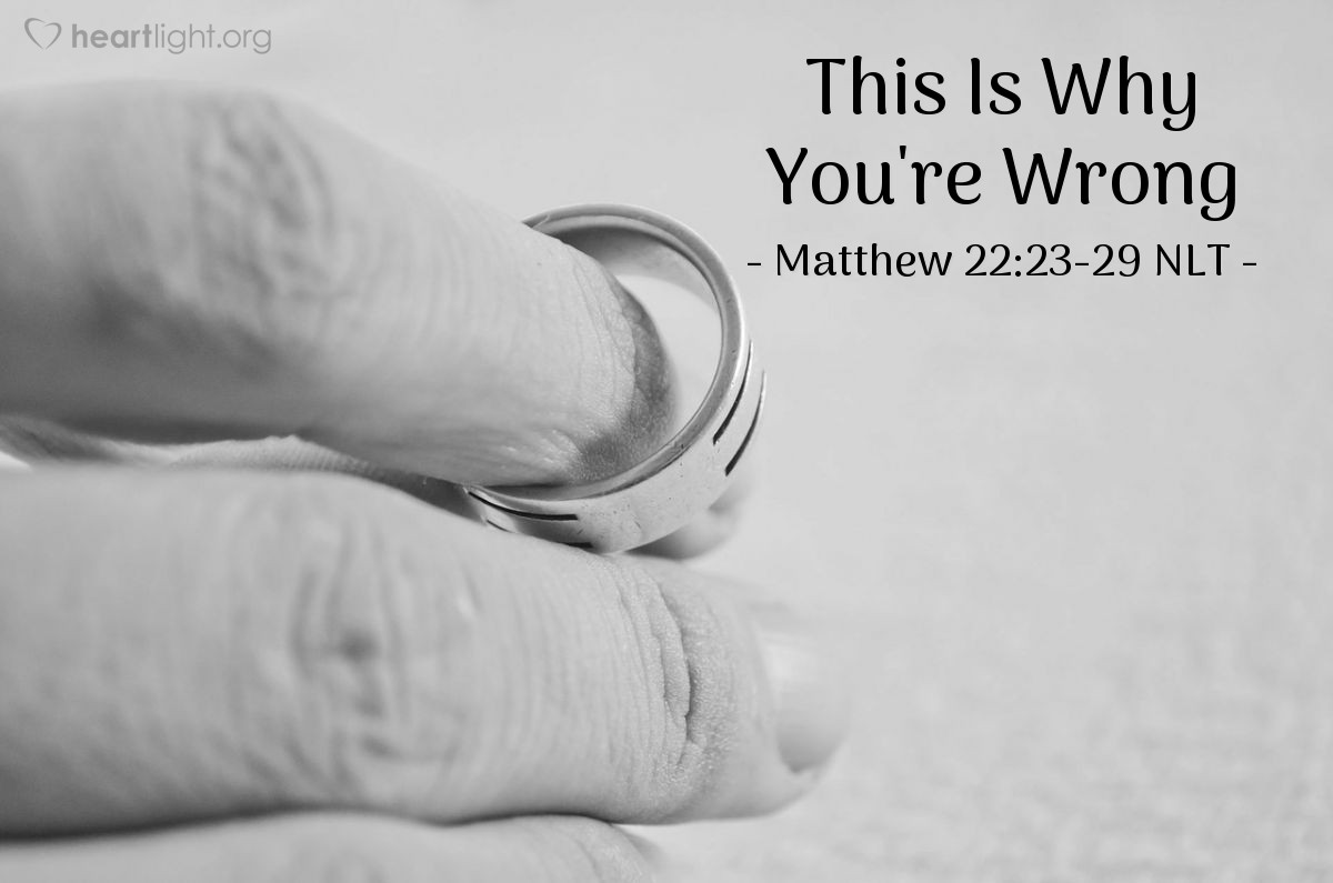 "Illustration of Matthew 22:23-29 NLT — ""Teacher, Moses told us that if a married man dies and he had no children, then his brother must marry the woman."""