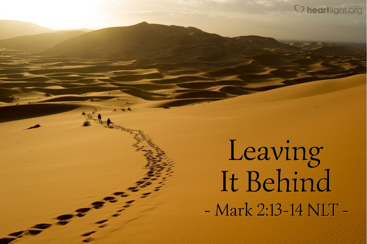 "Illustration of Mark 2:13-14 NLT — ""Follow me."""
