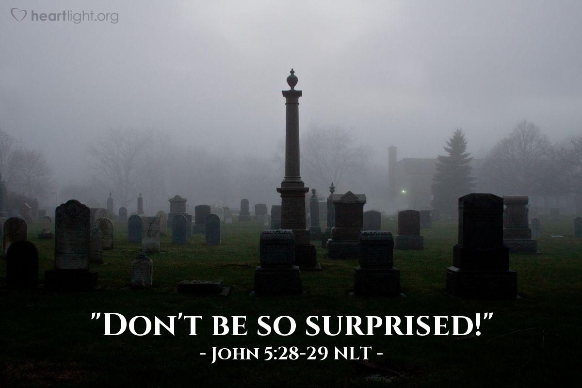 """Illustration of John 5:28-29 NLT — """"Don't be so surprised!"""""""