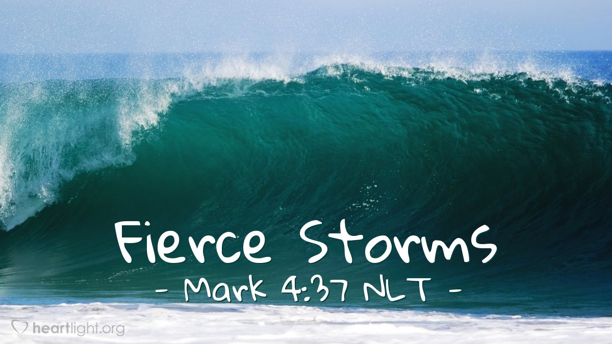 Illustration of Mark 4:37 NLT — A very bad wind came on the lake. The waves were coming over the sides and into the boat. The boat was almost full of water.