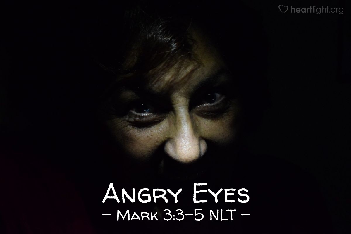 "Illustration of Mark 3:3-5 NLT — ""Let me see your hand."""