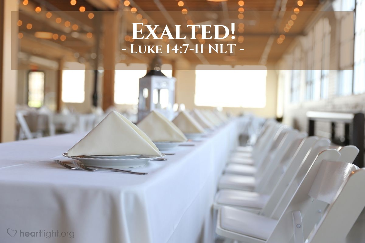 "Illustration of Luke 14:7-11 NLT — ""When you are invited to a wedding feast, don't sit in the seat of honor."""