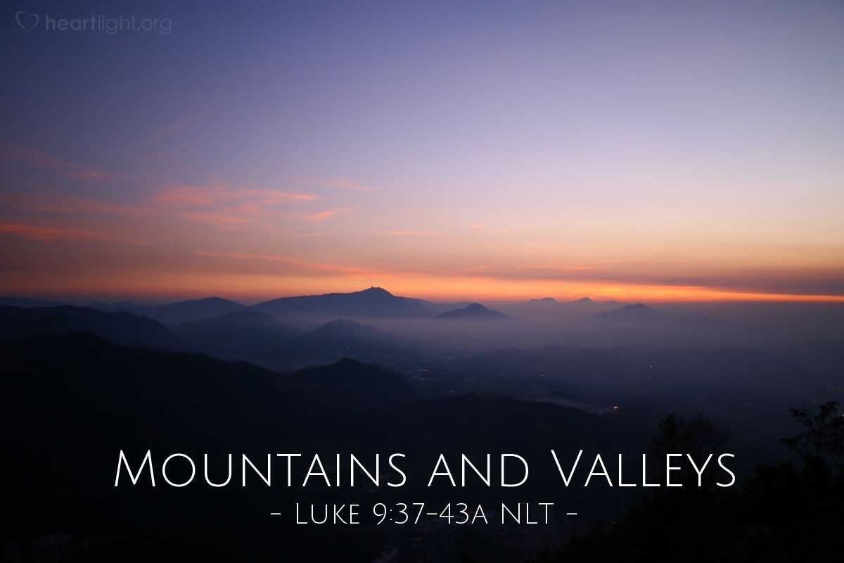 "Illustration of Luke 9:37-43 NLT — ""Bring your son here."""