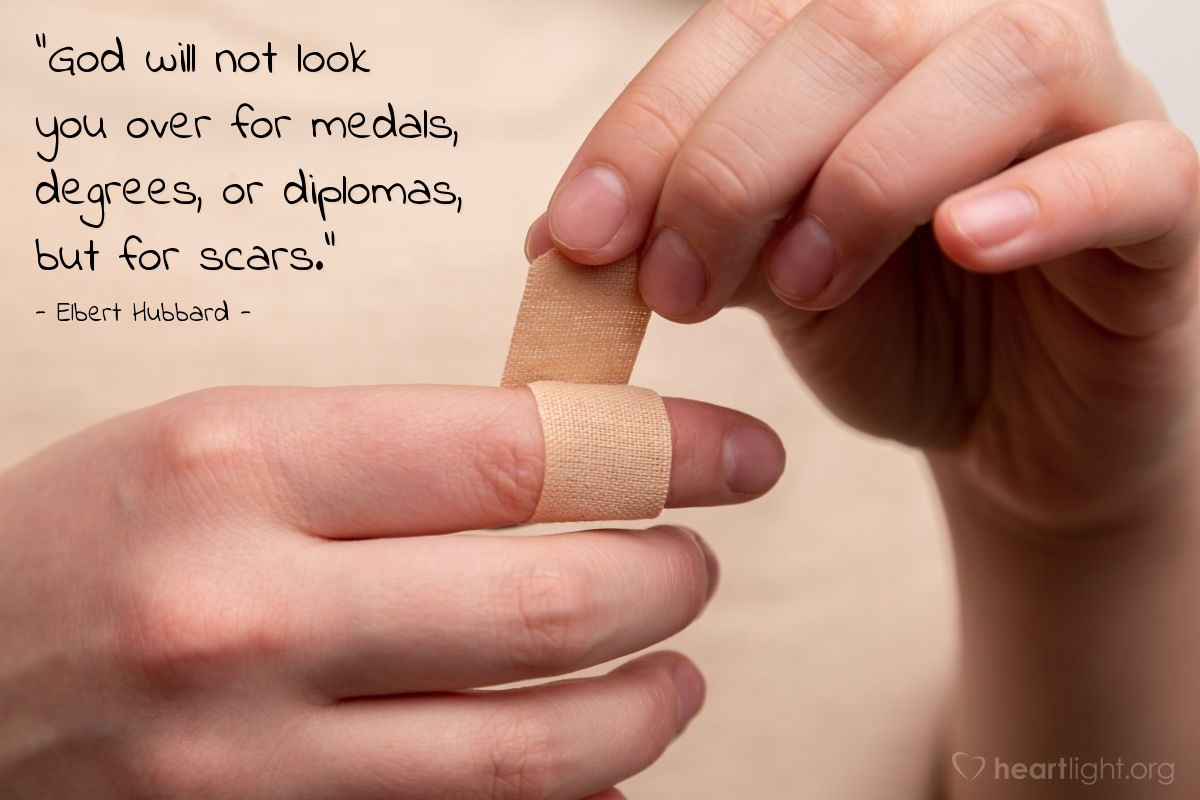"""Illustration of Elbert Hubbard — """"God will not look you over for medals, degrees, or diplomas, but for scars."""""""