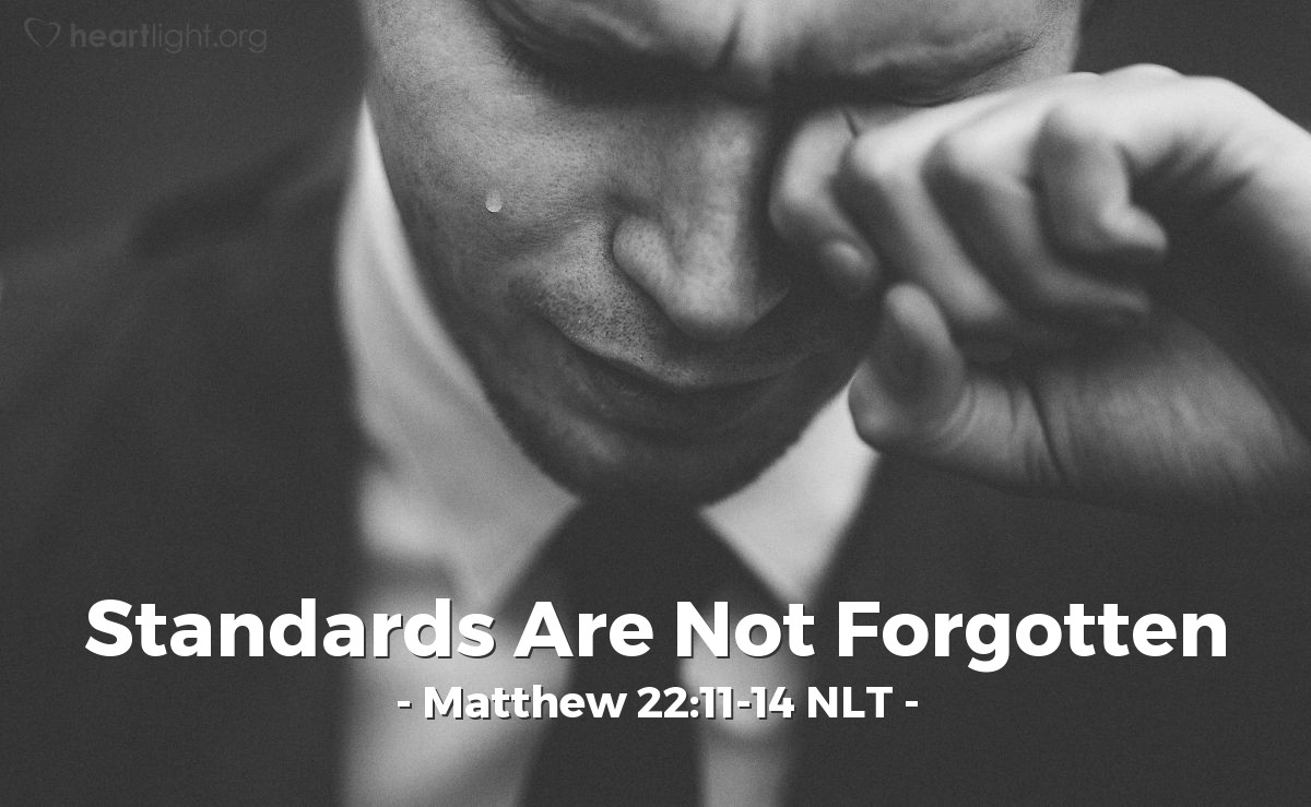 "Illustration of Matthew 22:11-14 NLT — ""Then the king came in to see all the people."""