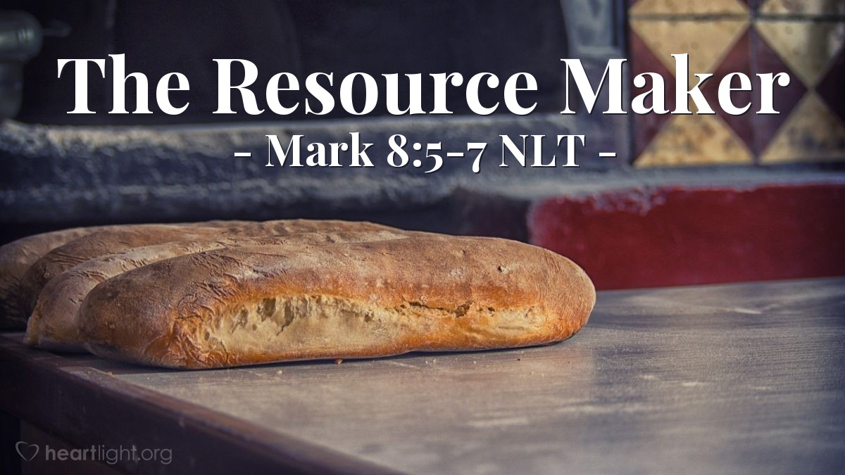 "Illustration of Mark 8:5-7 NLT — ""How many loaves of bread do you have?""   ——   ""We have seven loaves of bread."""
