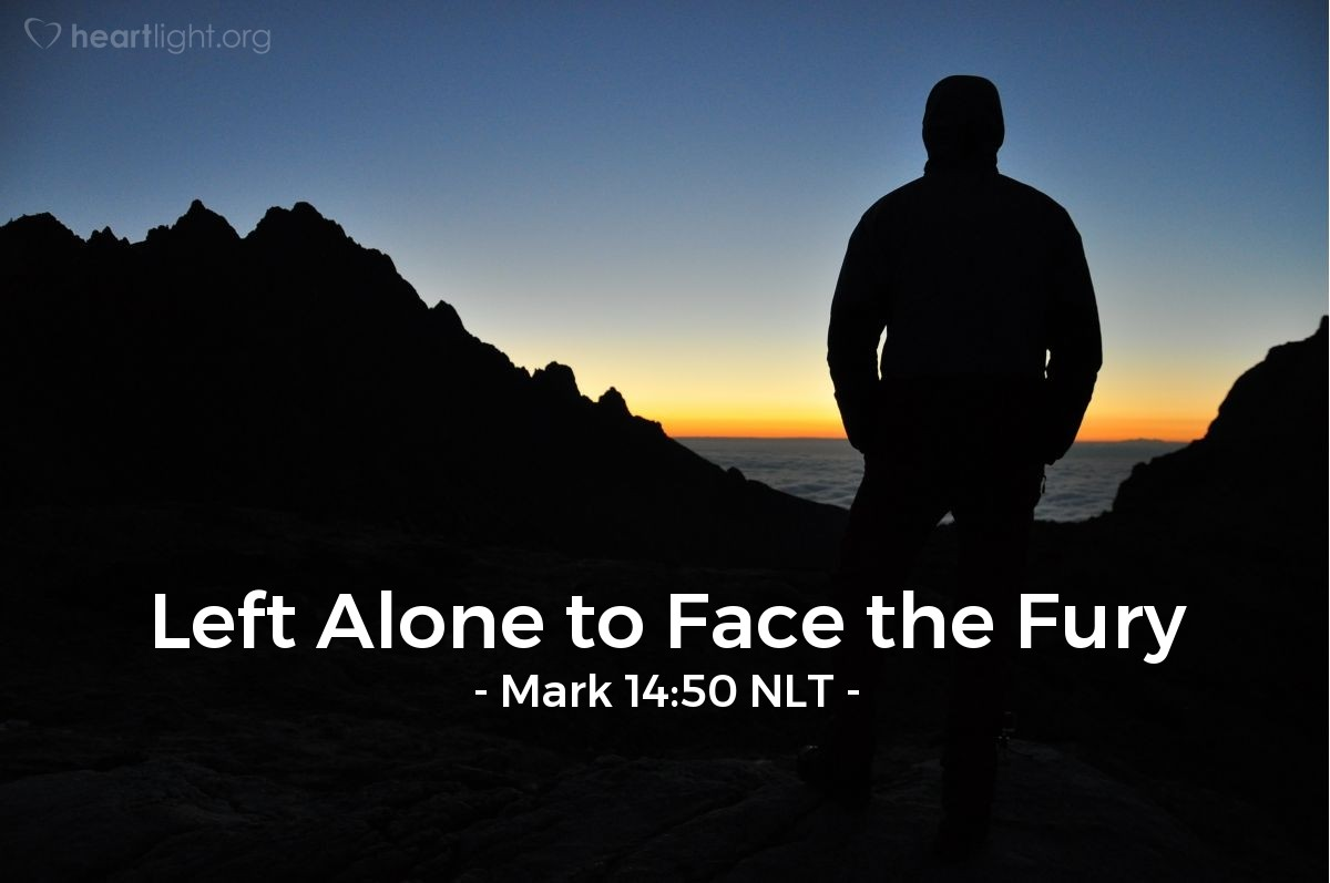 Illustration of Mark 14:50 NLT — Then all of Jesus' followers left him and ran away.