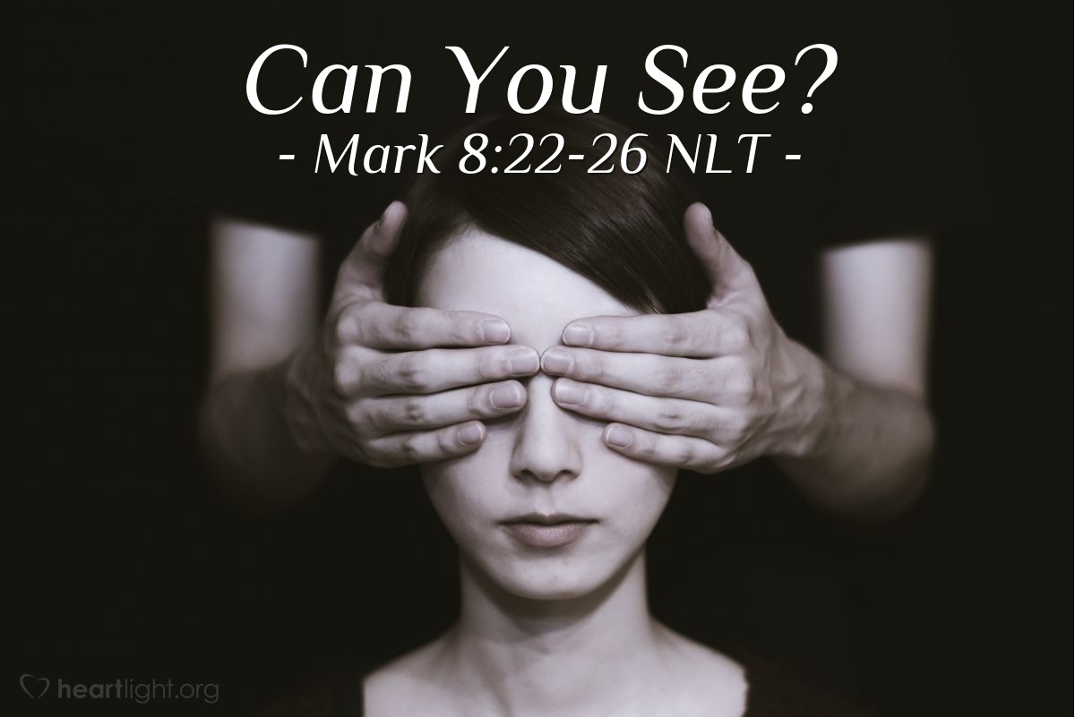 "Illustration of Mark 8:23-26 NLT — ""Don't go into the town."""