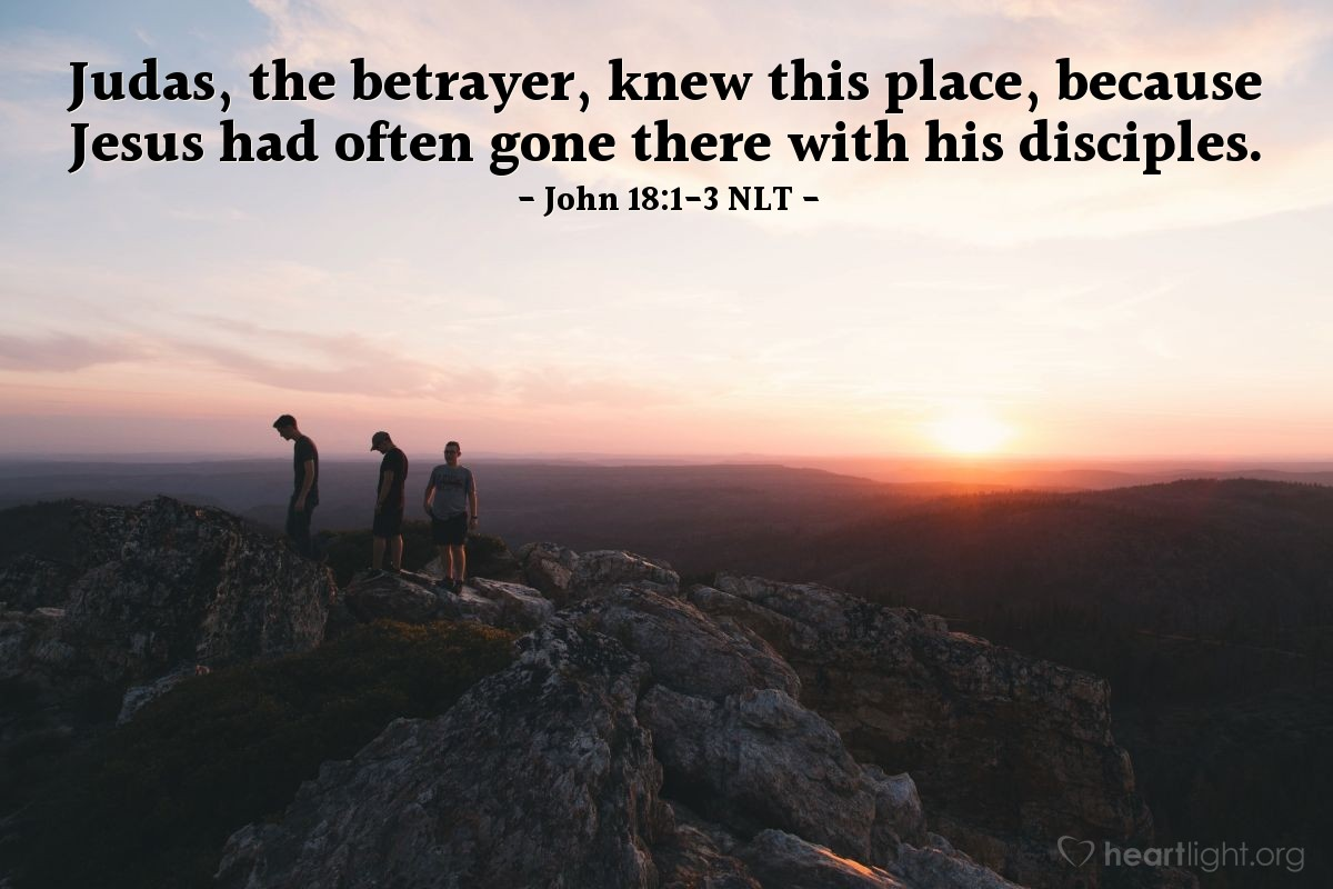 Illustration of John 18:1-3 NLT —  Judas, the betrayer, knew this place, because Jesus had often gone there with his disciples.