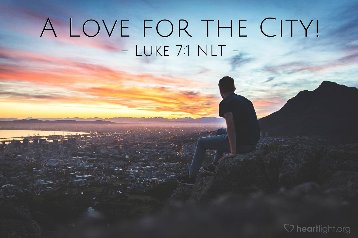 Illustration of Luke 7:1 NLT — Jesus finished saying all these things to the people. Then Jesus went into Capernaum.