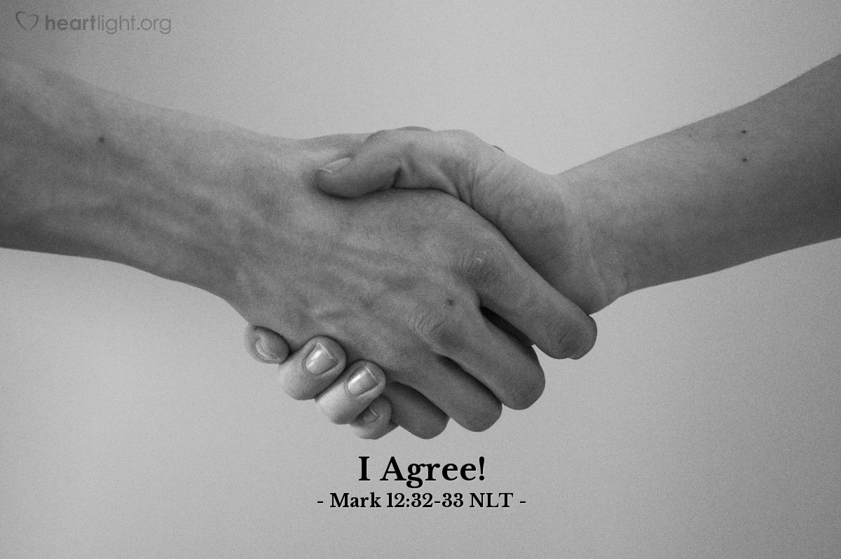 "Illustration of Mark 12:32-33 NLT — ""That was a good answer, Teacher."""