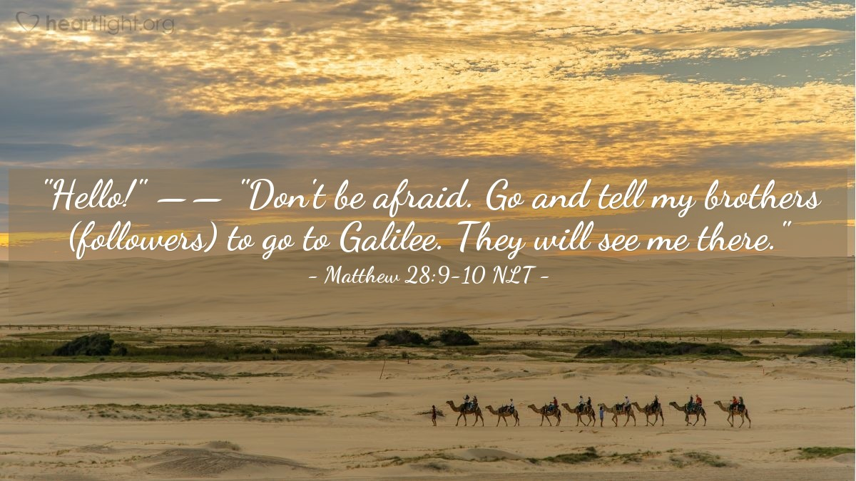 "Illustration of Matthew 28:9-10 — ""Hello!""   ——   ""Don't be afraid. Go and tell my brothers (followers) to go to Galilee. They will see me there."""
