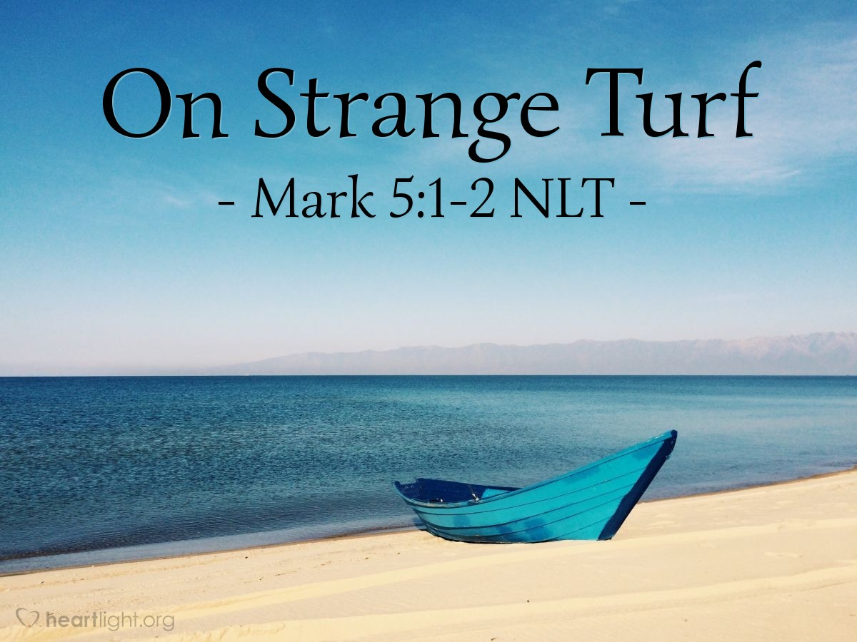 Illustration of Mark 5:1-2 NLT —  This man had an evil spirit {from the devil} living inside of him.
