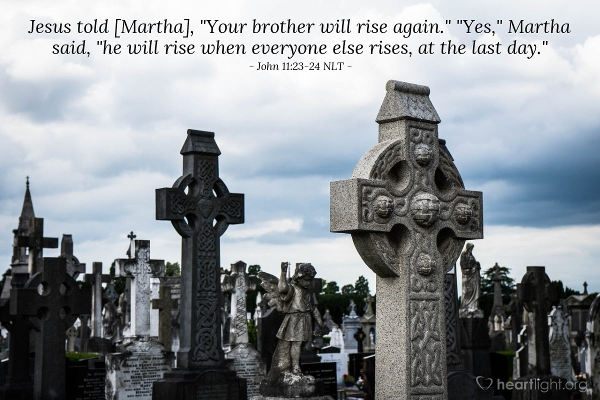 """Illustration of John 11:23-24 NLT — Jesus said, """"Your brother will rise and be alive again."""" Martha answered, """"I know that he will rise to live again when people are resurrected (raised from death) on the last day."""""""