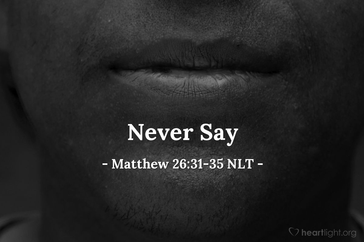 "Illustration of Matthew 26:31-35 NLT — ""I will never say that I don't know you! I will even die with you!"""