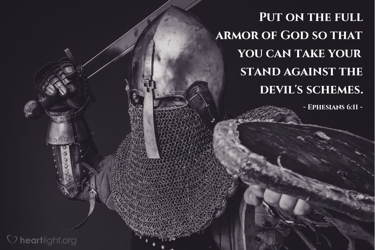 Illustration of Ephesians 6:11 — Put on the full armor of God so that you can take your stand against the devil's schemes.
