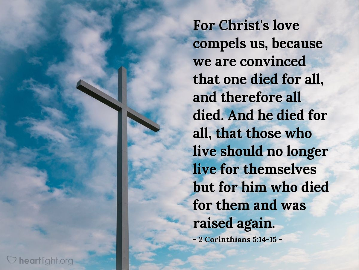 Illustration of 2 Corinthians 5:14-15 on Jesus